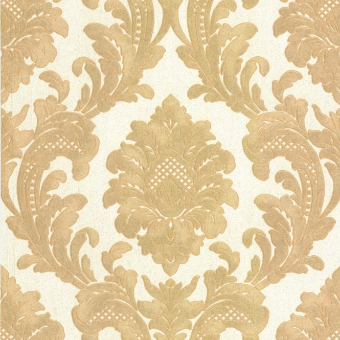 Milano 7 Damask Wallpaper Gold, White (M95588)