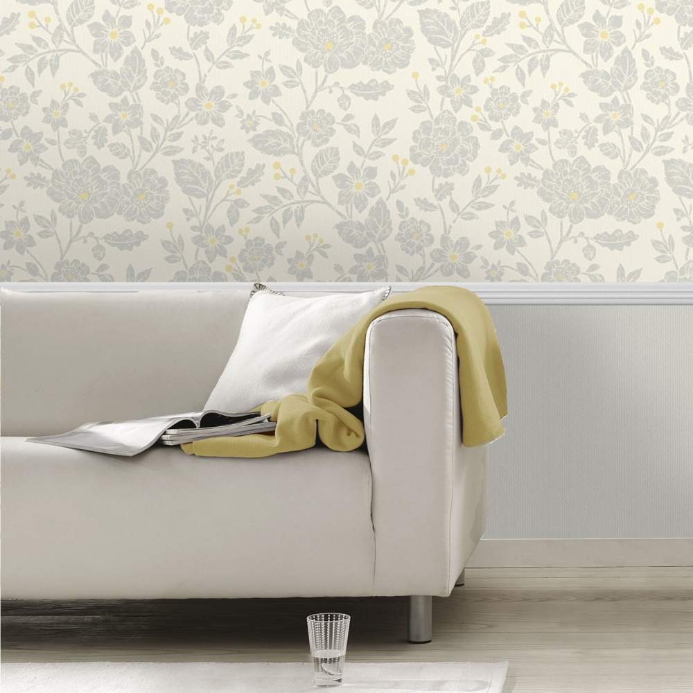 Crown Alexandra Floral Wallpaper Yellow Grey Wallpaper From I