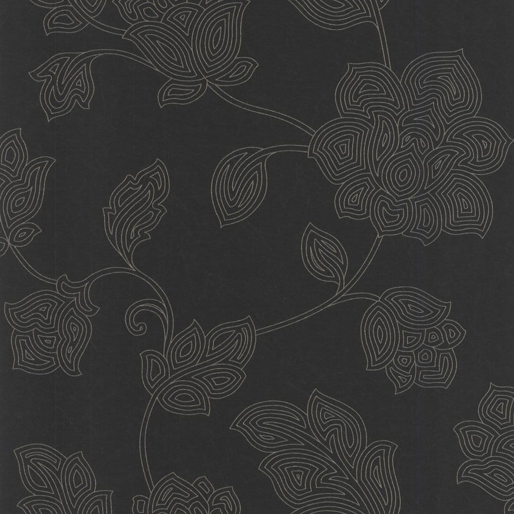Versace Home Wallpaper Floral Black Gold Glitter 34326 2 Carta