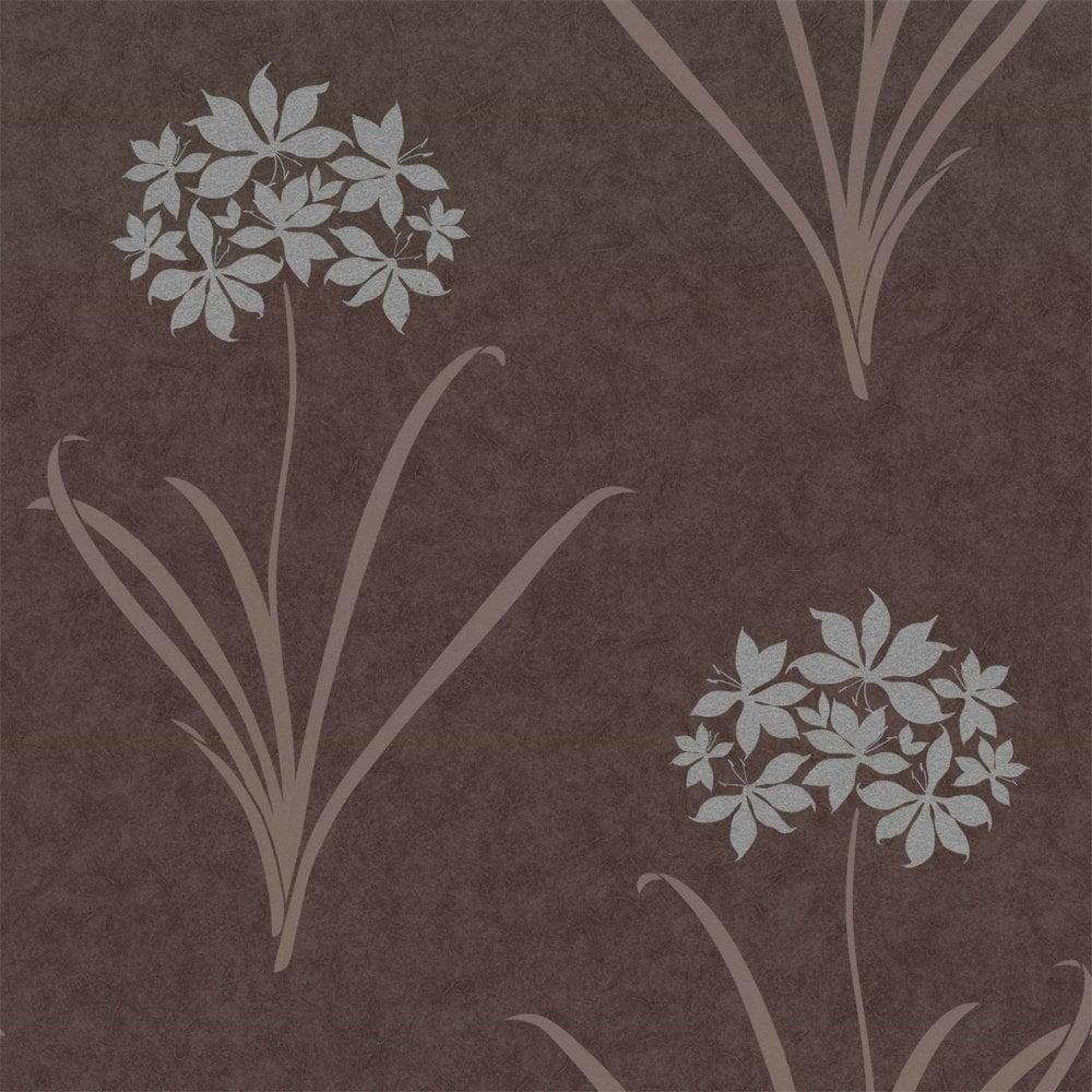 Buy Caselio Aliya Wallpaper Charcoal Brown Silver