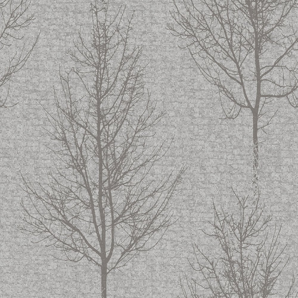 Alonzo Tree Motif Wallpaper Soft Grey Silver 60318