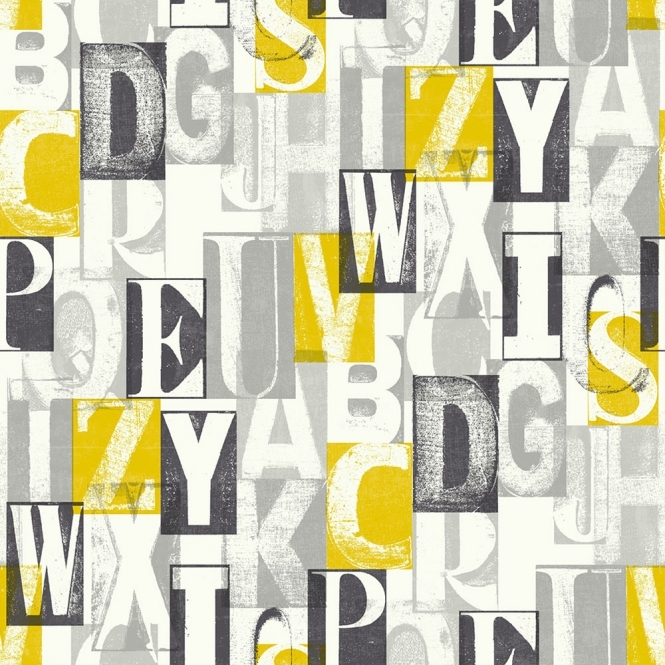 Arthouse Alpha Letters Wallpaper Black, Yellow (622000)