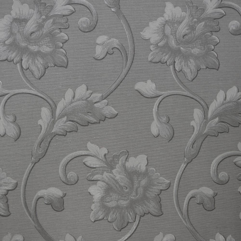 Ascot Wallpaper Goodwood Floral Wallpaper Silver Silver Jc1002