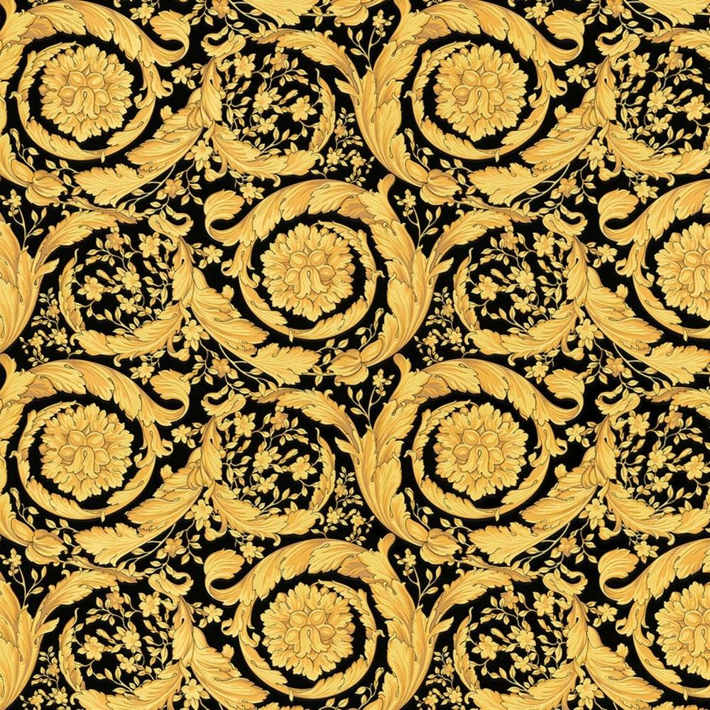 Versace Barocco Scroll Flowers Wallpaper Black Gold Wallpaper From I Love Wallpaper Uk