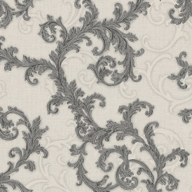Baroque & Roll Ornamental Wallpaper Charcoal, Soft Grey (96231-5)