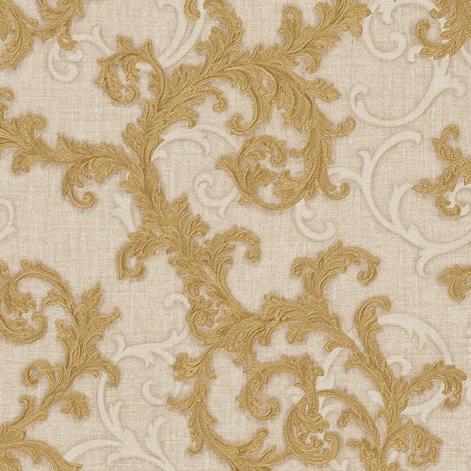 Versace Baroque & Roll Ornamental Wallpaper Cream, Gold (96231-3)