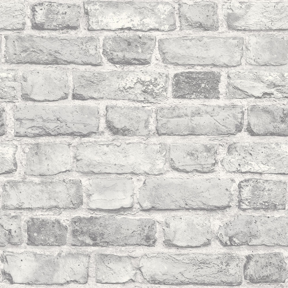 Battersea Brick Wall Effect Wallpaper Grey I Love Wallpaper