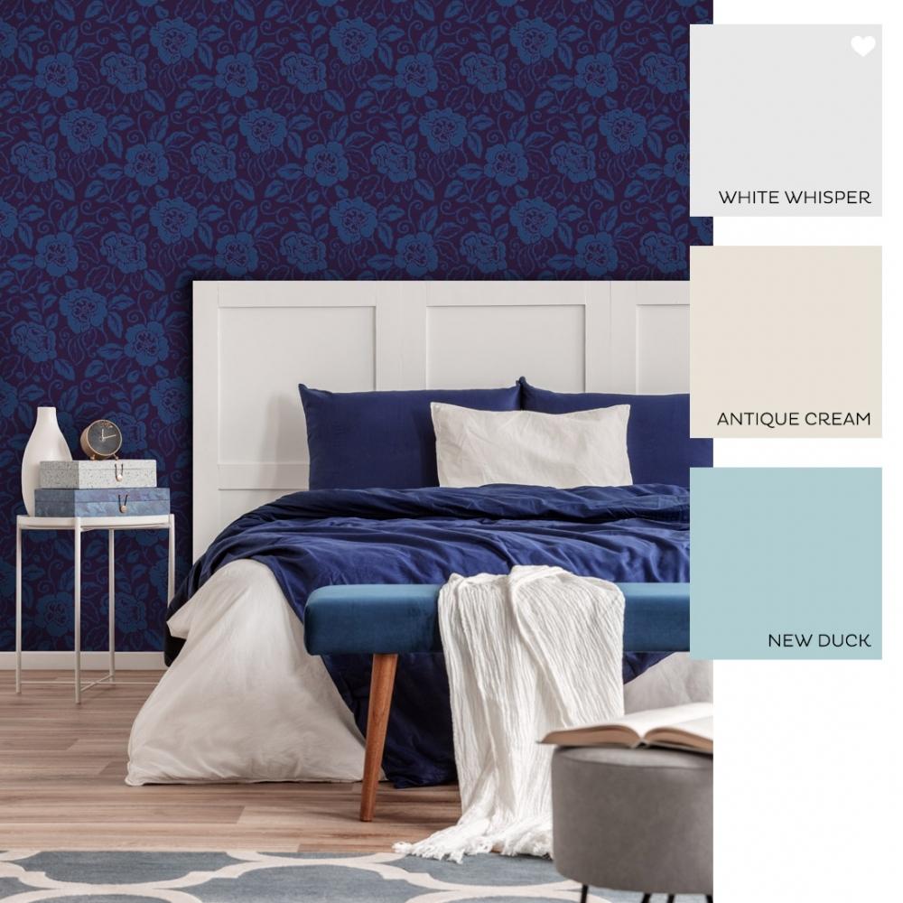 Belle Floral Flock Wallpaper Royal Blue (980508)