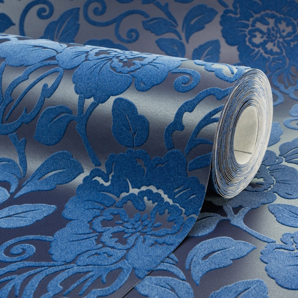 Sophie Conran Belle Floral Flock Wallpaper Royal Blue 980508