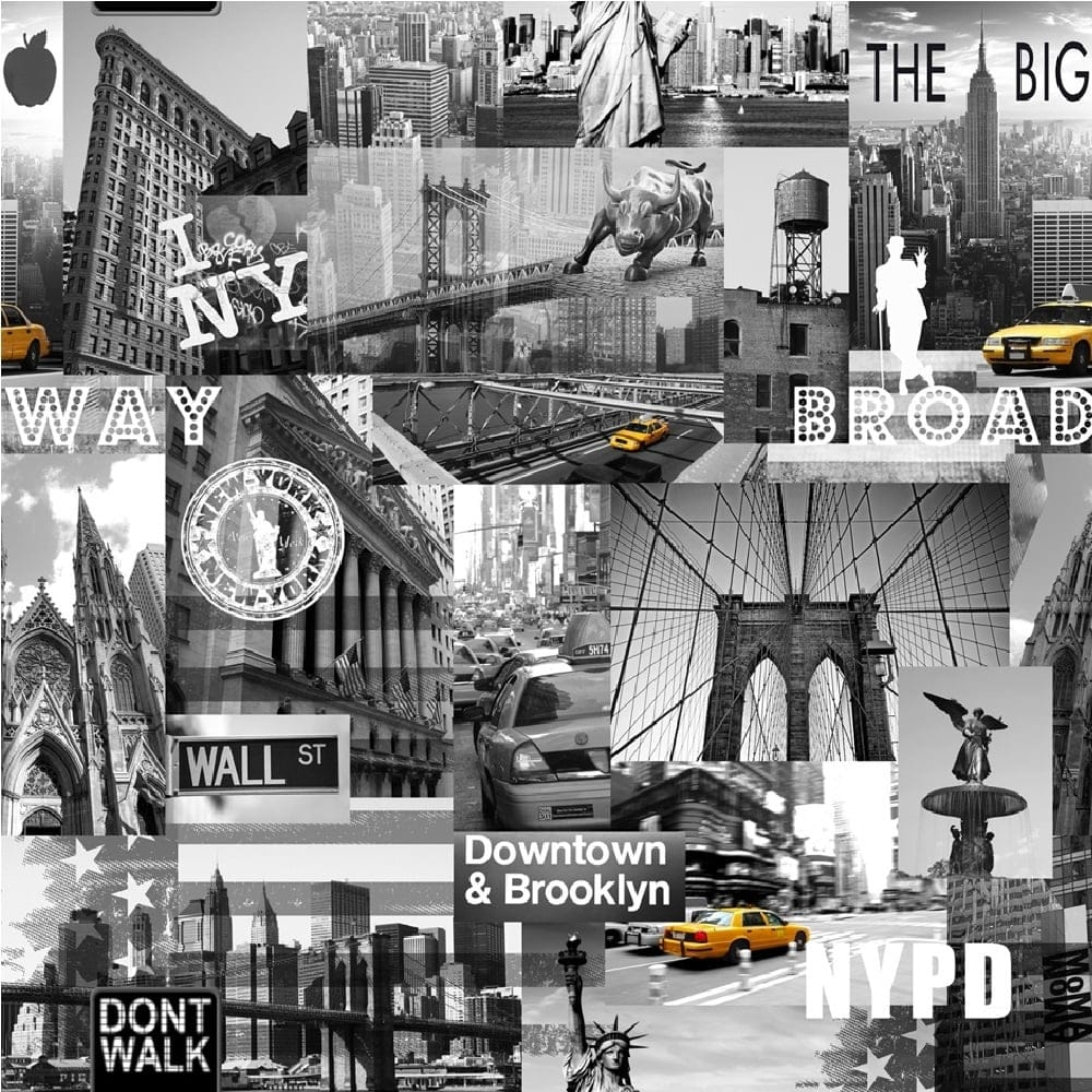 Muriva Big Apple New York City Wallpaper Black Grey Yellow