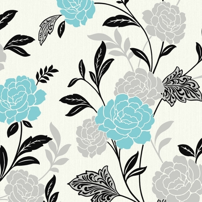 Arthouse Carla Floral Rose Motif Wallpaper Teal, Silver (889402)