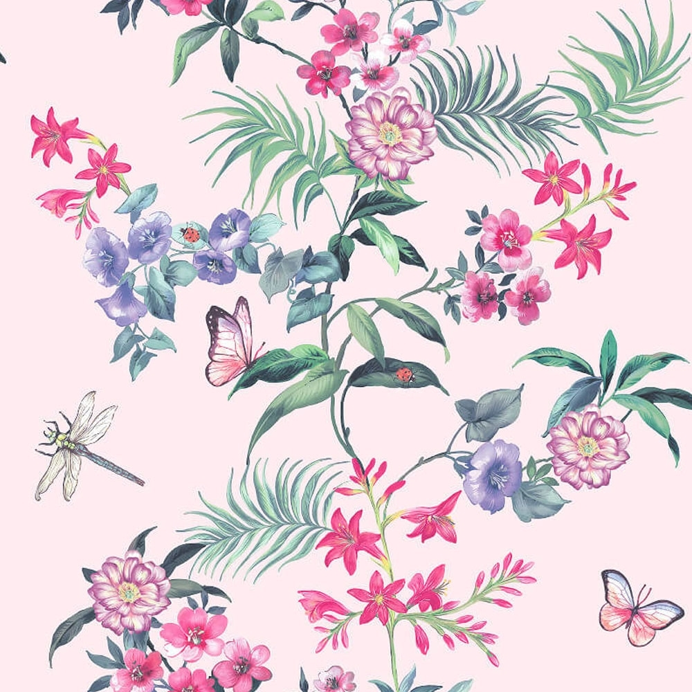 Crown Carmen Floral Wallpaper Soft Pink Wallpaper From I Love