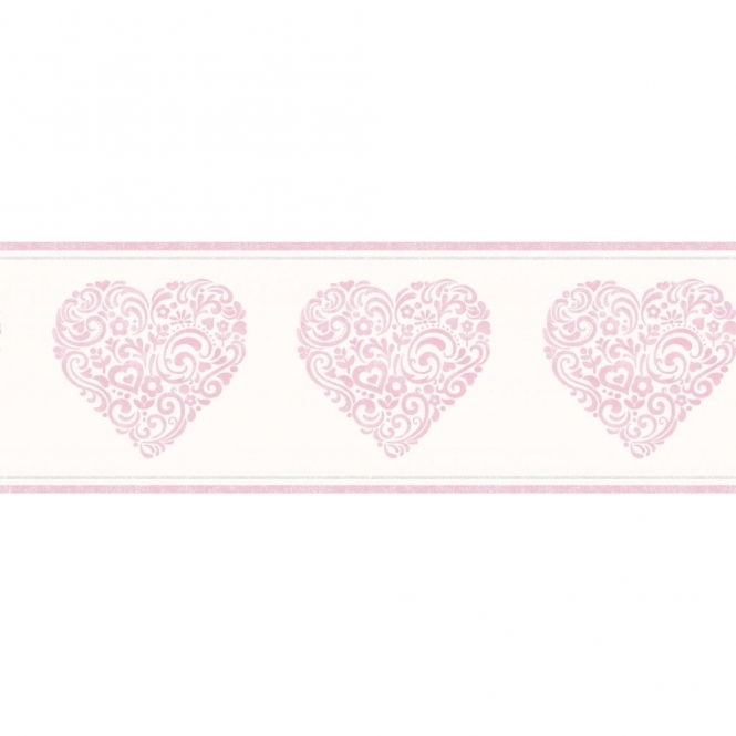 Decorline Carousel Pearlescent Hearts Border Pink (DLB50079)