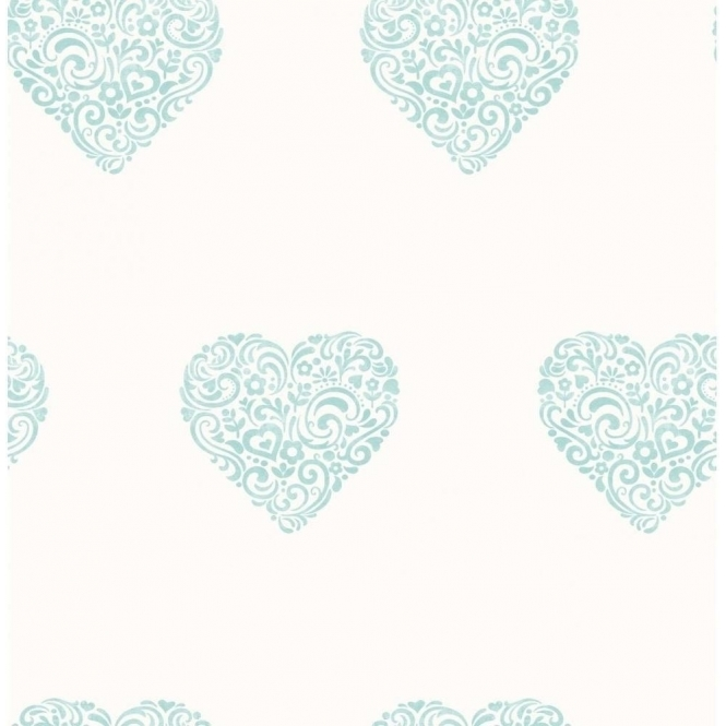 Decorline Carousel Pearlescent Hearts Wallpaper Teal White DL21113