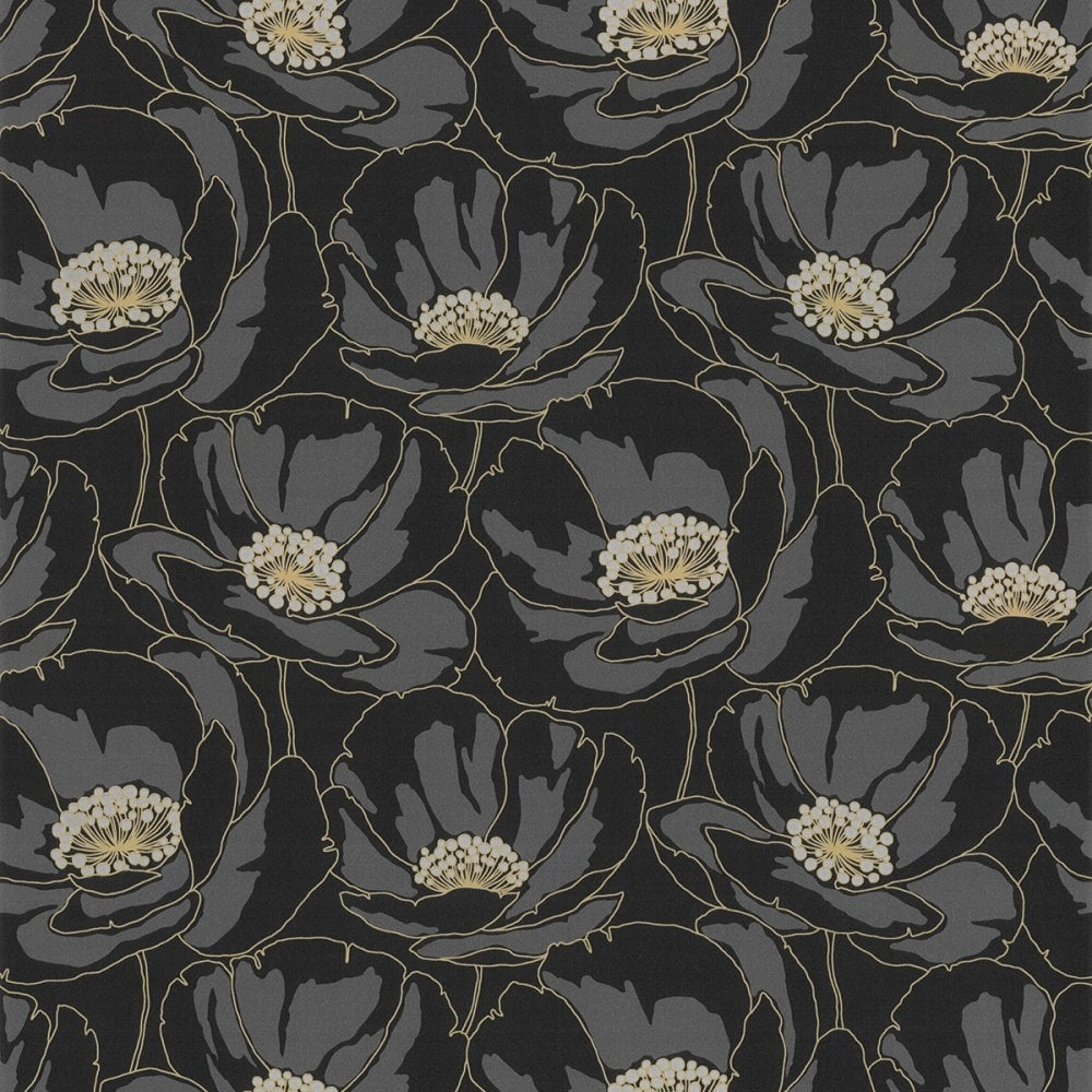 Casadeco Fluer Poppy Floral Wallpaper Black Gold 16779136