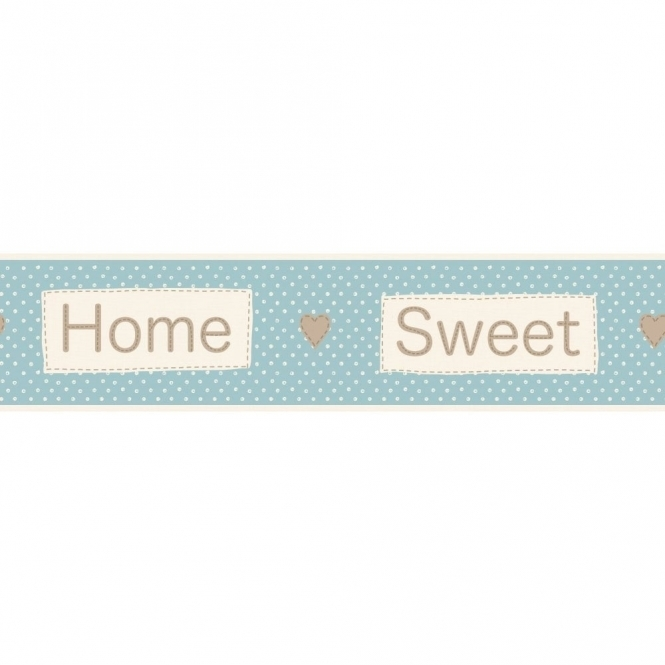 Fine Decor Ceramica Home Sweet Home Self Adhesive Border Blue / Cream (FDB50050)