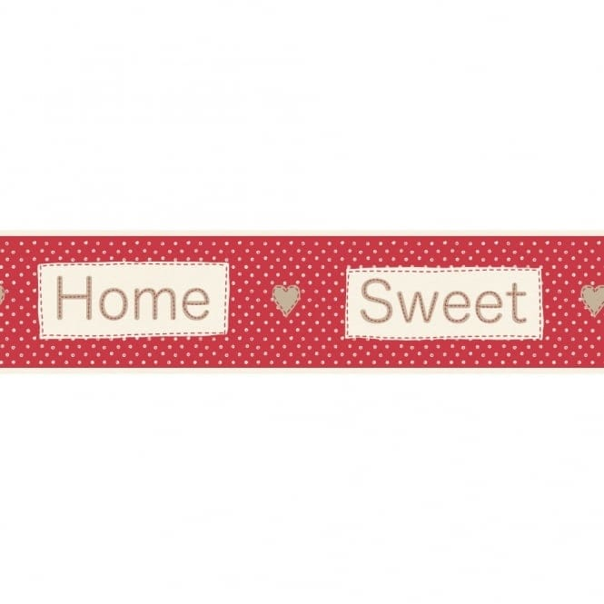 Fine Decor Ceramica Home Sweet Home Self Adhesive Border Red / Cream (FDB50048)