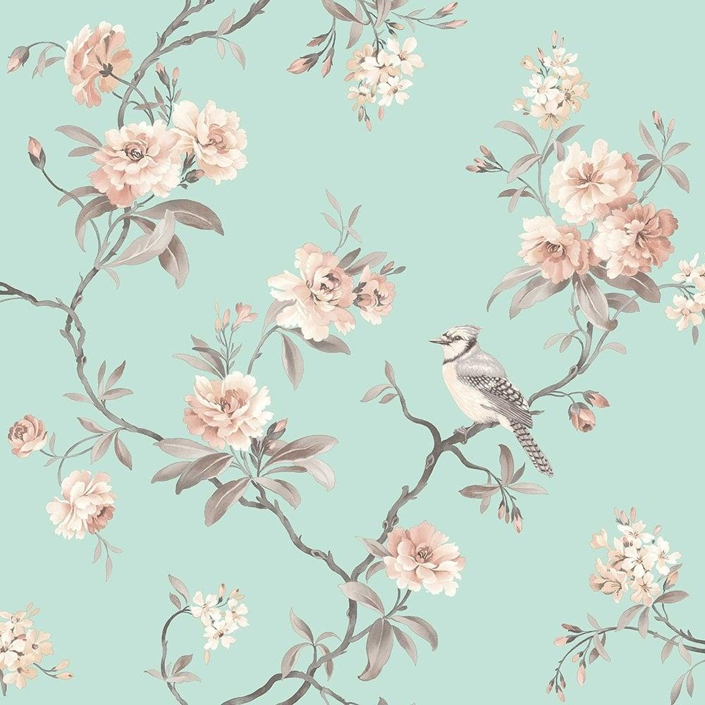 Fine Decor Chinoiserie Floral Wallpaper Duck Egg Fd40768