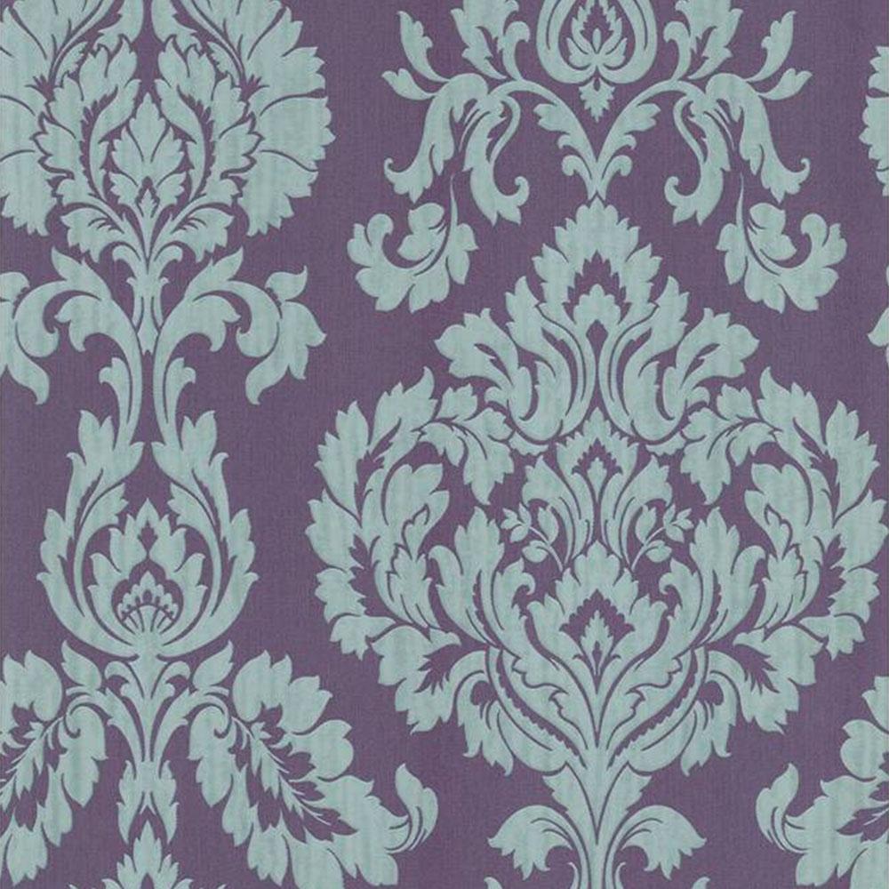 Fine Decor Classics Large Damask Wallpaper Purple Silver FD20327