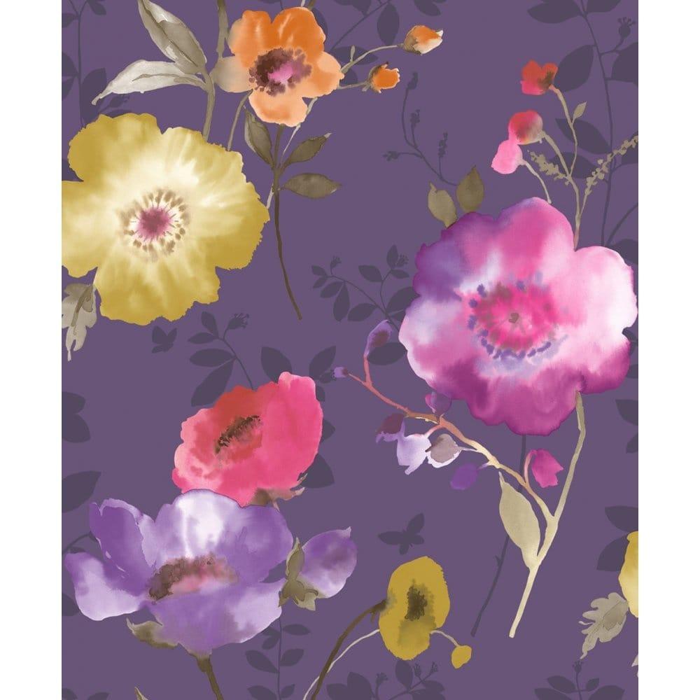 Crown Delicia Floral Wallpaper Damson Purple Yellow 0142955