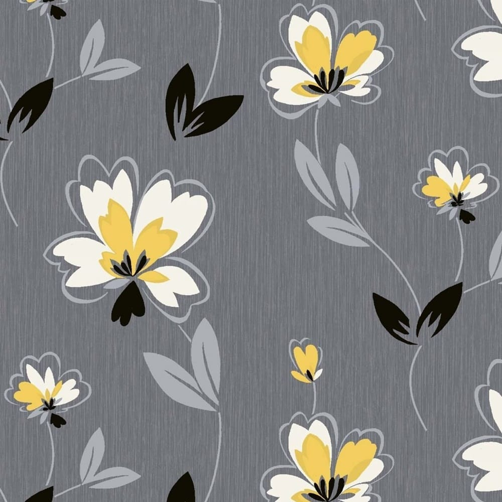 Crown Fresh Floral Wallpaper Charcoal Mustard M0775