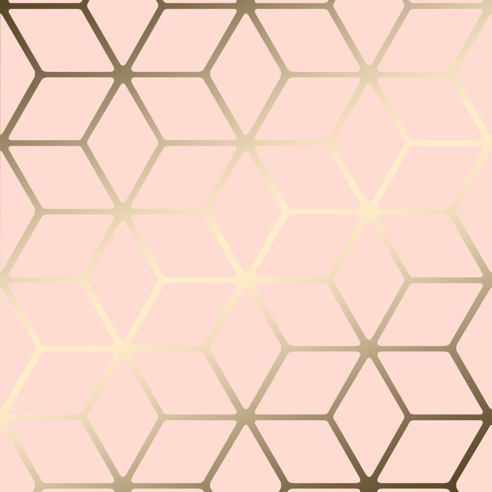 gold and pink wallpaper  House of Alice Cubic Shimmer Metallic Wallpaper Soft Pink, Gold ...