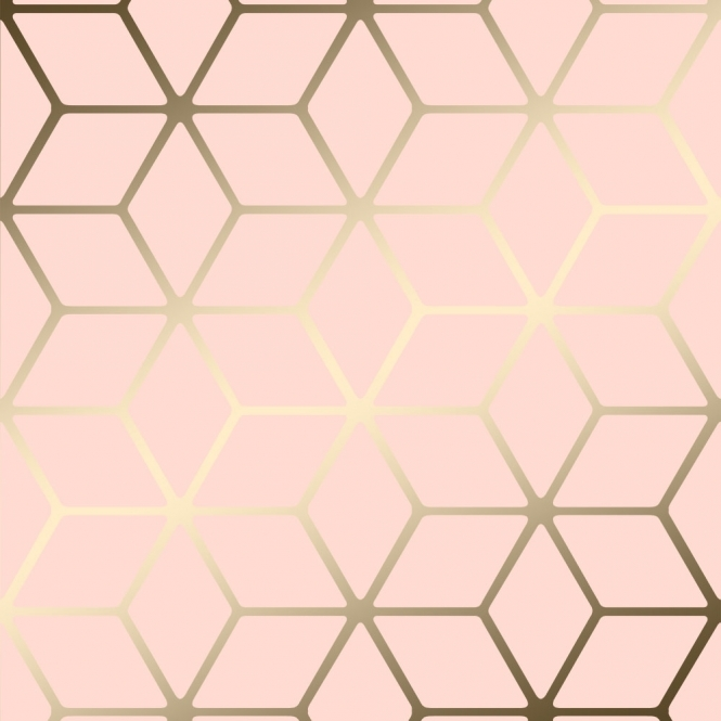 House of Alice Cubic Shimmer Metallic Wallpaper Soft Pink, Gold (H264967)