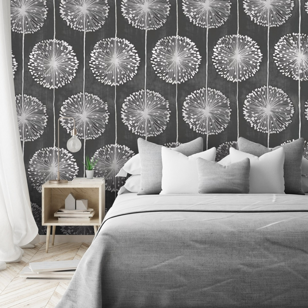 Muriva Dandelion Floral Wallpaper Black Grey J04219 Wallpaper