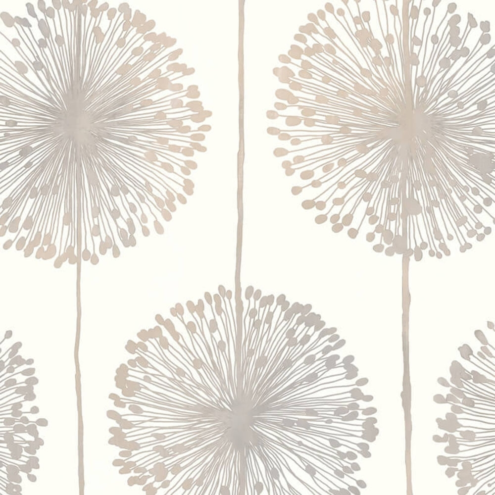 Muriva Dandelion Floral Wallpaper Cream Grey Gold J04207