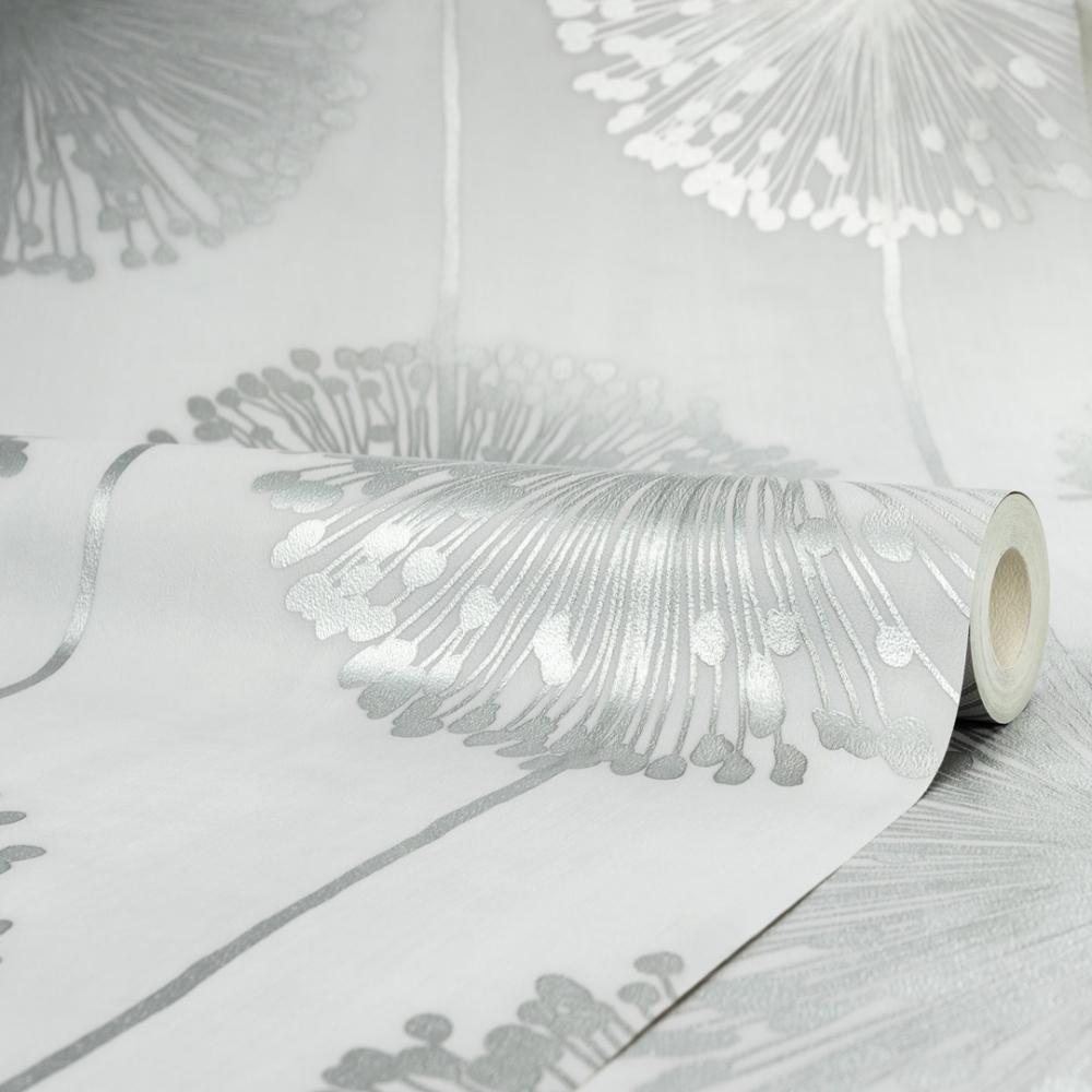 I Love Wallpaper Dandelion Floral Wallpaper Soft Grey Silver
