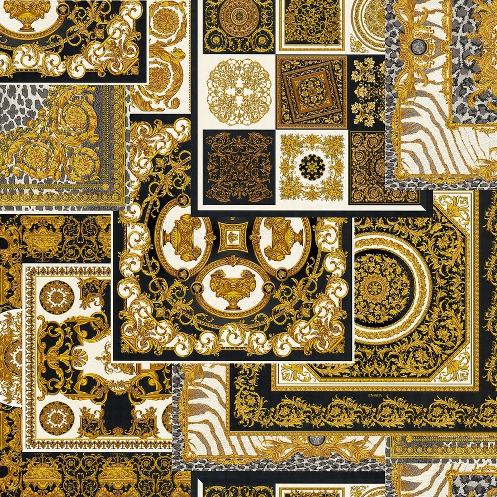 Versace Decoupage Tile Wallpaper Black Wallpaper From I Love Wallpaper Uk