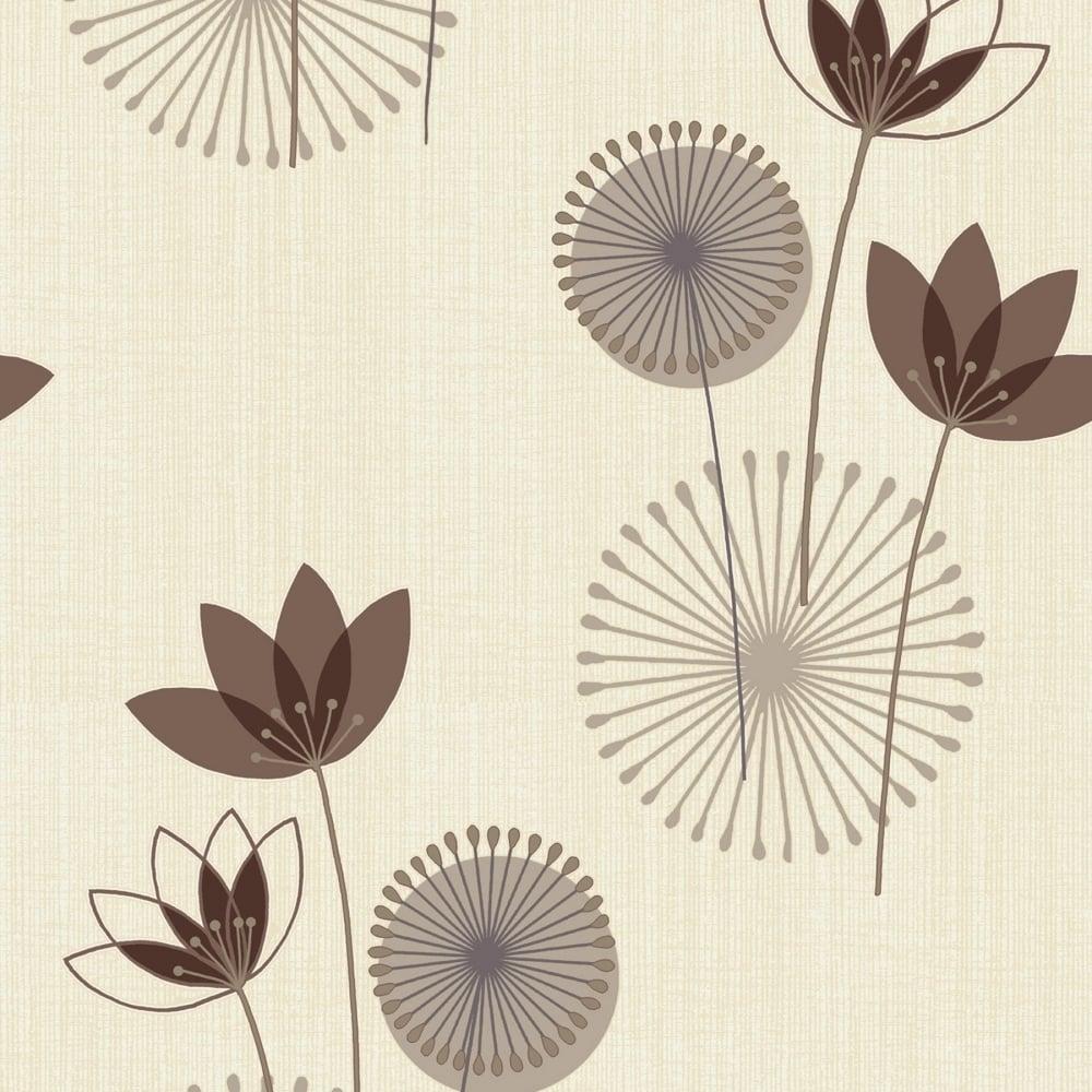 Designer Interiors Akina Floral Wallpaper Chocolate Cream 75463