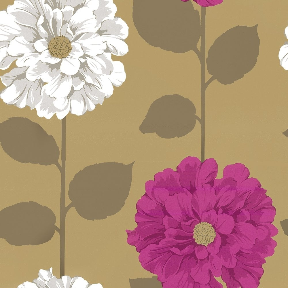 Designer Selection Camilla Floral Wallpaper Metallic Gold Pink