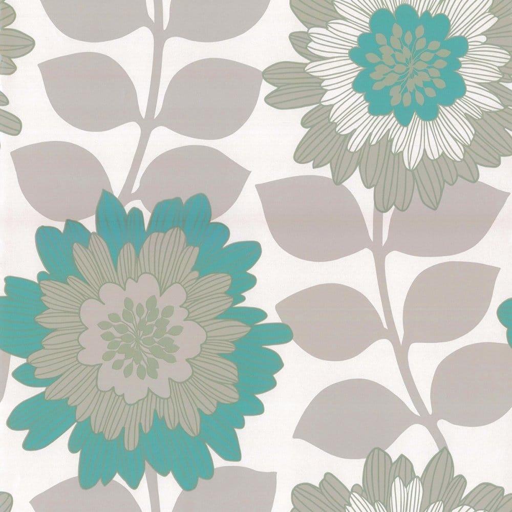 Designer Selection Oriental Bold Floral Wallpaper Metallic Teal