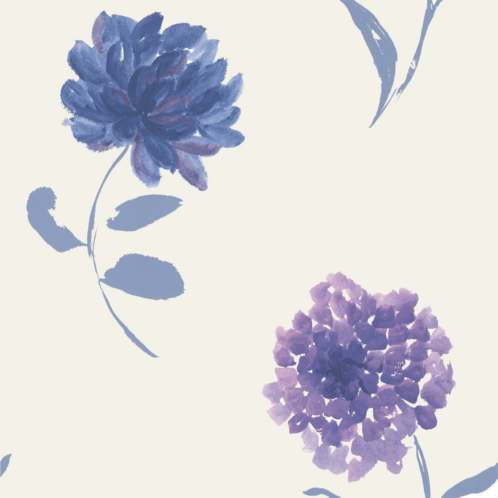 Designer Selection Watercolour Floral Wallpaper Cream Purple