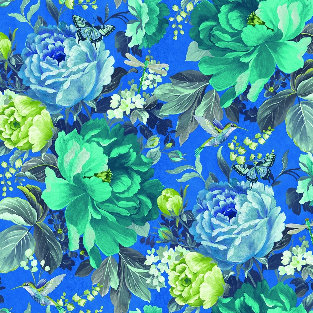 A Shade Wilder Dianthus Floral Wallpaper China Blue 300107