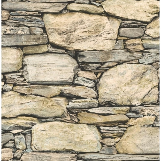 I Love Wallpaper Distinctive Slate Stone Wall Wallpaper Natural Beige (ILW980063)