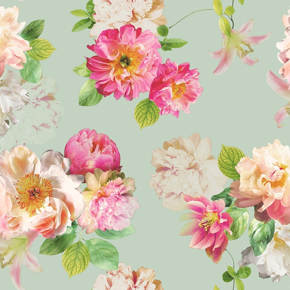 Arthouse Elena Floral Wallpaper Duck Egg Pink Wallpaper From I