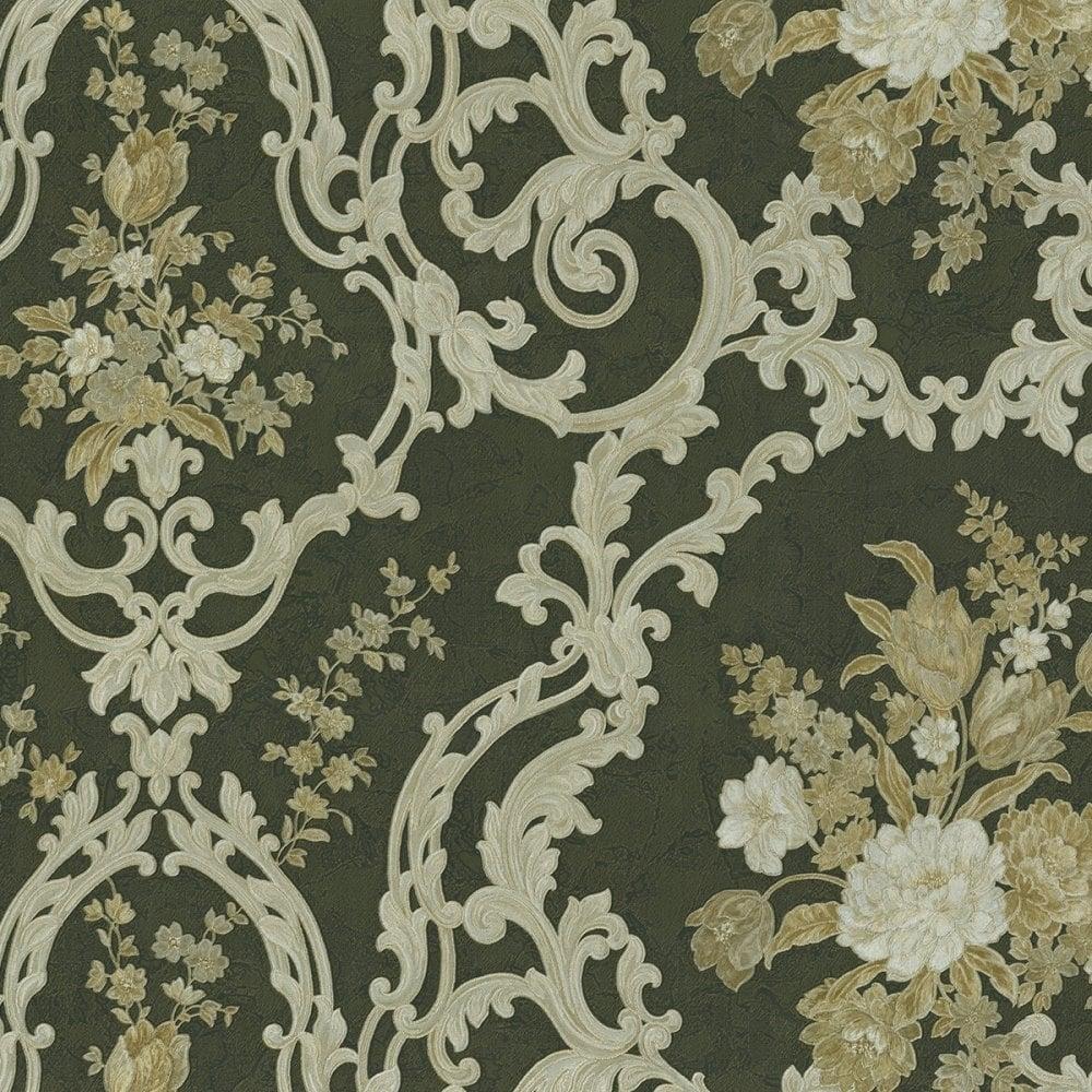 Emiliana Esedra Fiorarte Floral Damask Wallpaper Black Gold