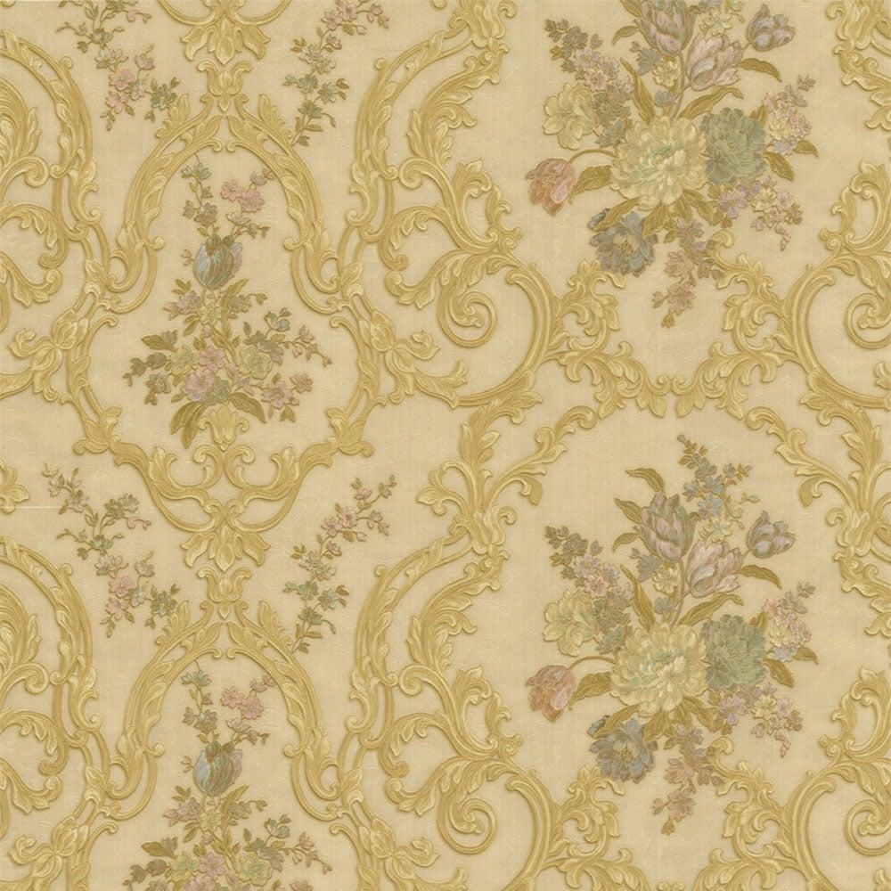 Emiliana Esedra Fiorarti 1 Floral Wallpaper Beige Gold Pink