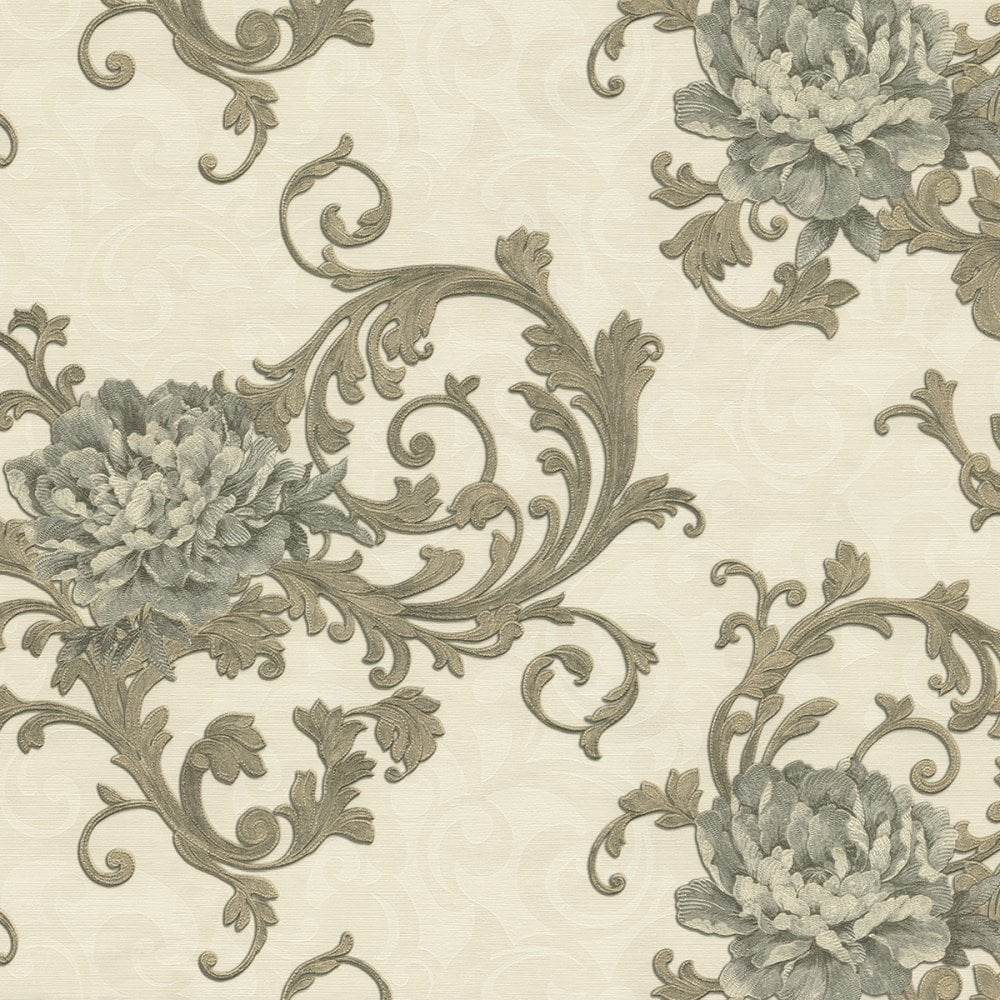 Emiliana Esedra Imperiale Floral Damask Wallpaper Cream Charcoal