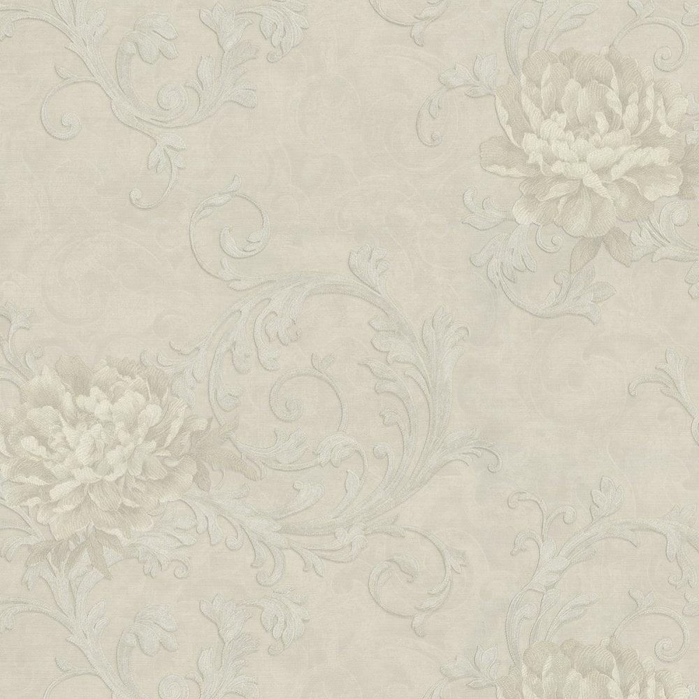 Emiliana Esedra Imperiale Floral Damask Wallpaper Soft Beige