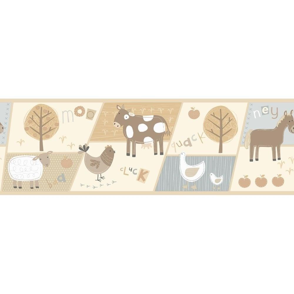 buy fine decor farm animals hoopla wallpaper border neutral cream blue