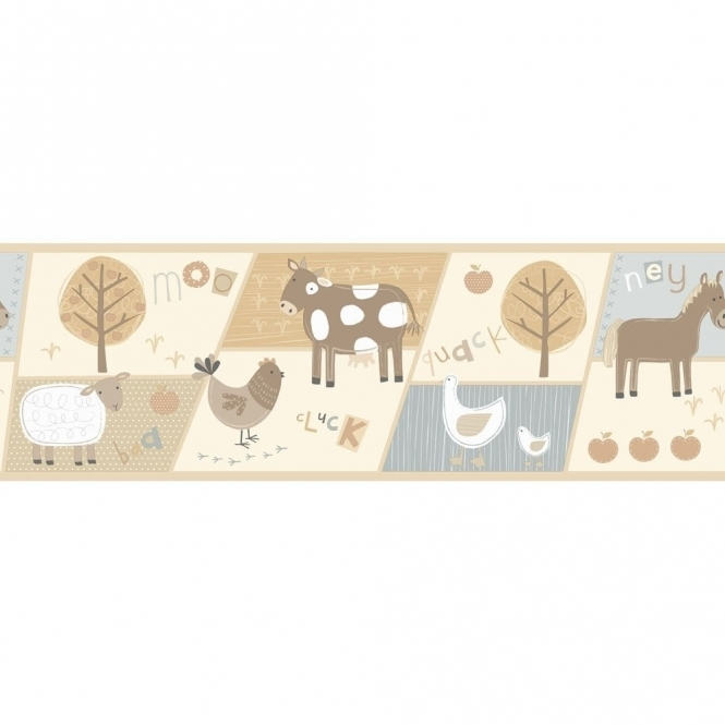 Fine Decor: Hoopla Farm Animals Hoopla Wallpaper Border Neutral Cream / Blue (DLB07530)