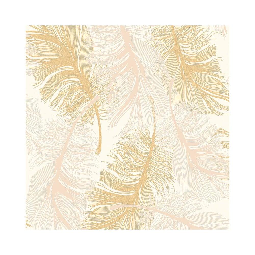 Coloroll Feathers Blown Vinyl Wallpaper Cream Gold Glitter