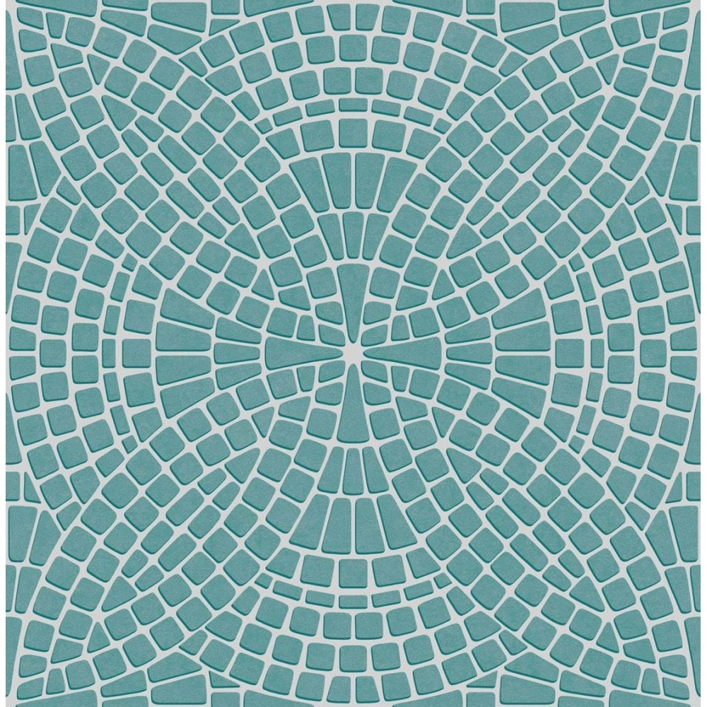 Fine Decor Ceramica Mosaic Tile Effect Wallpaper Teal, Silver (FD40128)