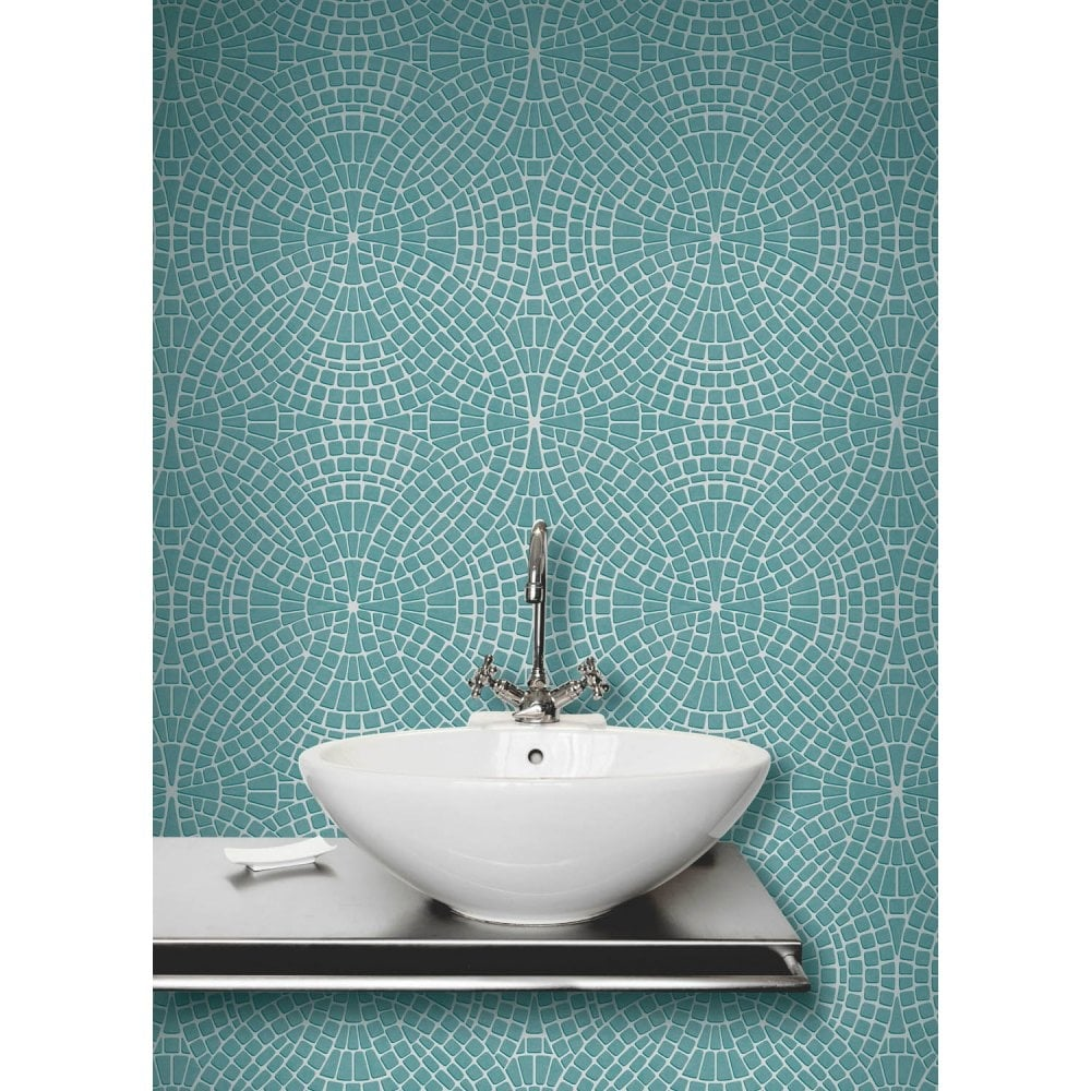 Fine Decor Ceramica Mosaic Tile Effect Wallpaper Teal, Silver ...