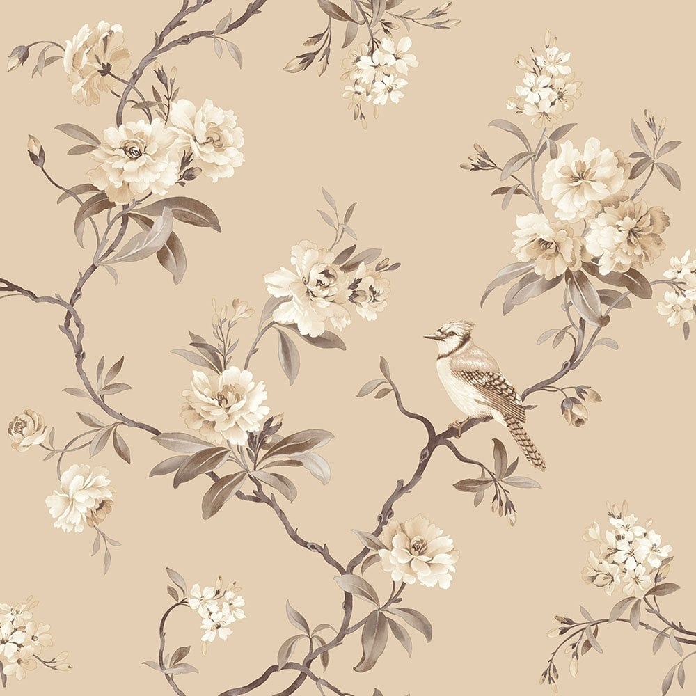 Fine Decor Chinoiserie Floral Wallpaper Natural Fd40767