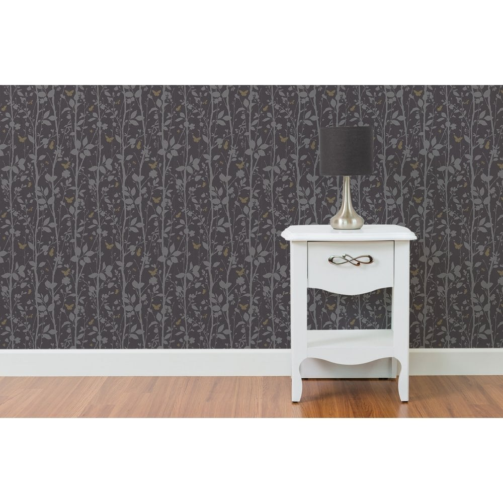 Fine Decor Geo Butterflies Glitter Wallpaper Black Silver Gold Fd40929 Wallpaper From I Love Wallpaper Uk