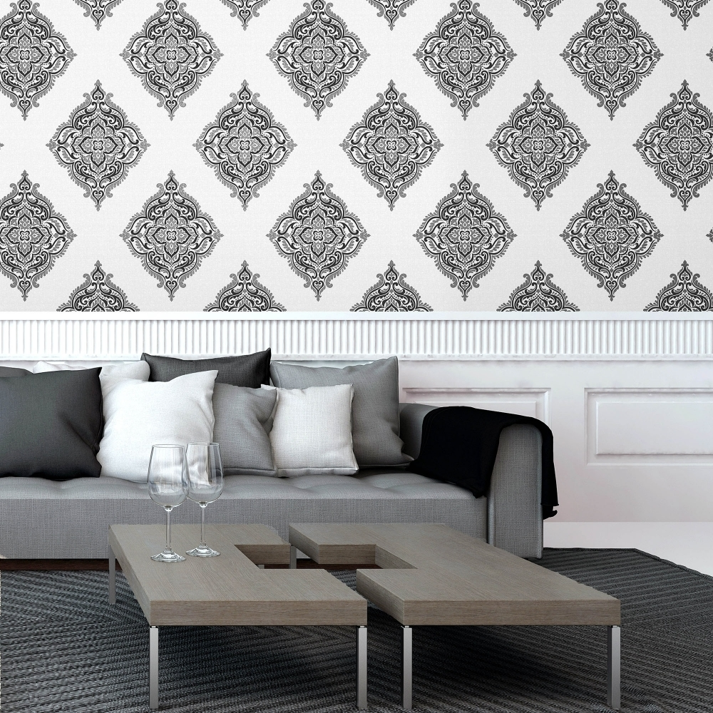 fine decor glamour medallion damask wallpaper white silver black fd40607 p4474 10694 image